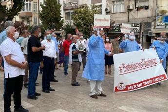 Mersin Tabip Odası'nın koronavirüs salgını sürecinde vatandaşlarımızın hayatını kurtarmak için kendi hayatını feda eden sağlık çalışanları anısına düzenlediği eyleme katıldık - 3